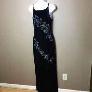 Scene floral beaded blue velvet dress size 9 / 10